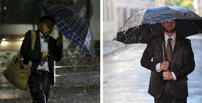 จับร่มให้มั่นด้วยสองมือ