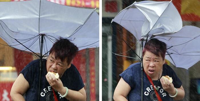 ใช้ร่มที่มีสภาพดีแข็งแรง
